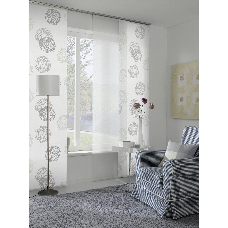 gardinia schiebevorhang kn uel wei grau 60 cm x 245 cm kaufen bei obi. Black Bedroom Furniture Sets. Home Design Ideas