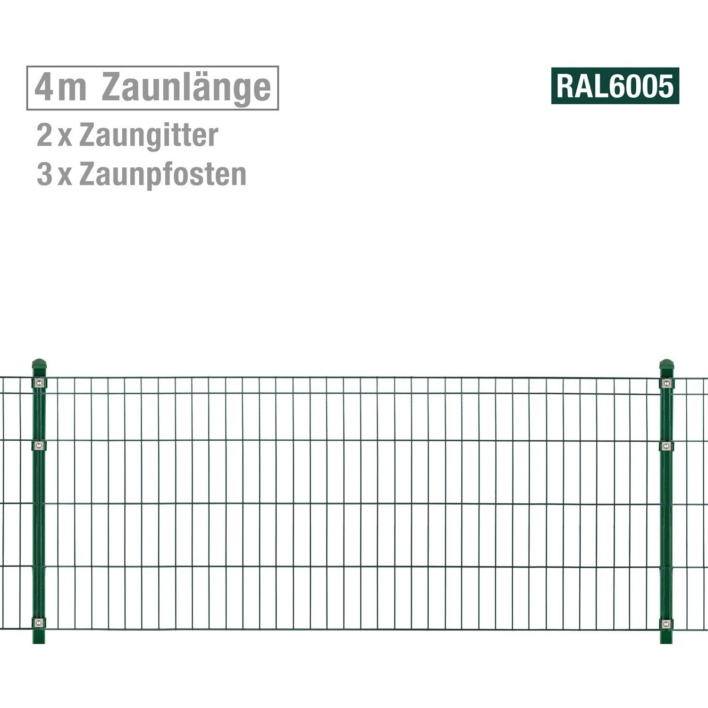 Metallzaun Set Michl Höhe 80 cm Länge 4 m Grün kaufen bei OBI