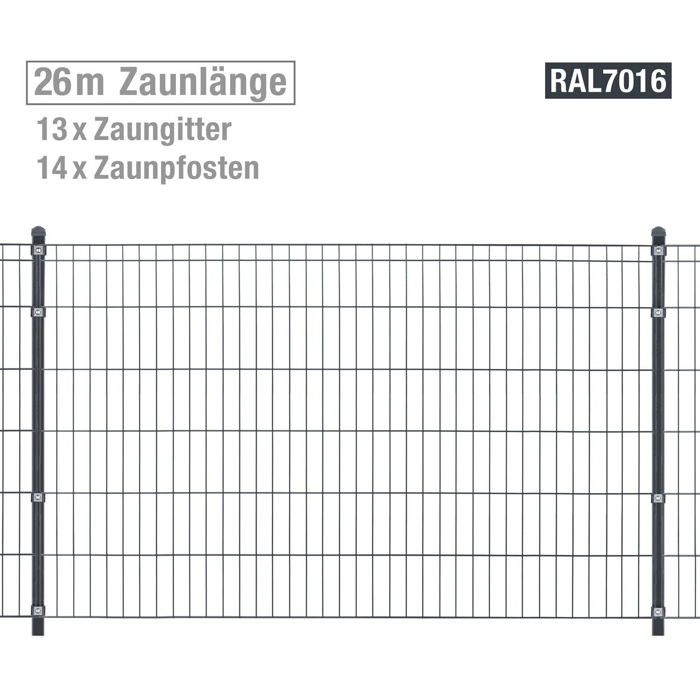 Metallzaun Set Michl Hohe 120 Cm Lange 26 M Anthrazit Kaufen Bei Obi