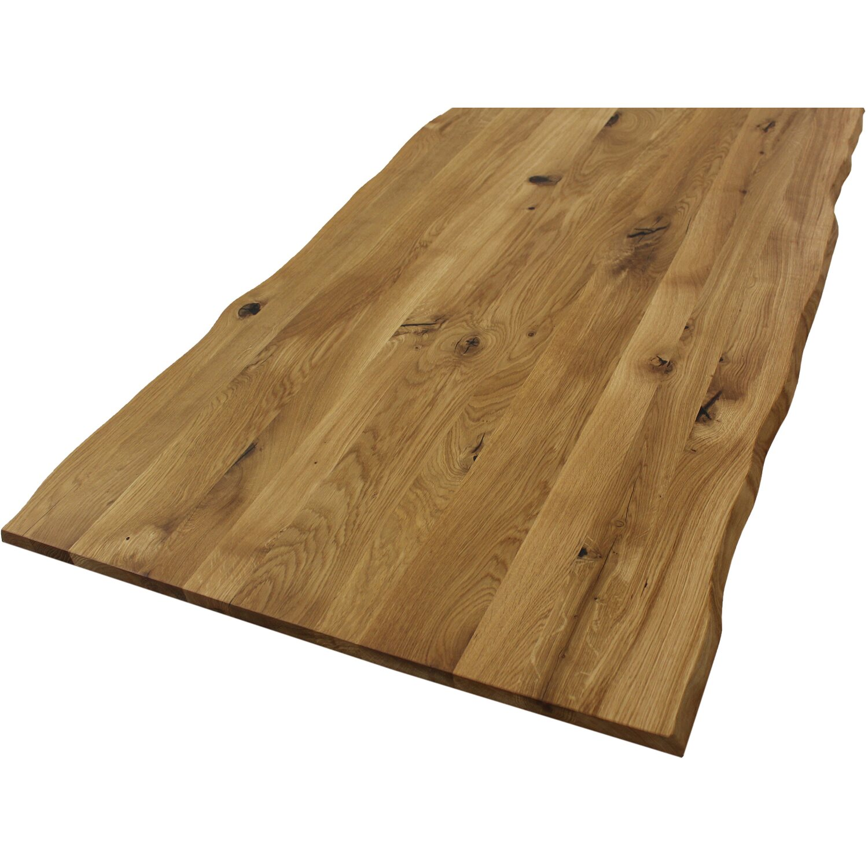 Massivholz Tischplatte Wildeiche mit Baumkante, geölt FSC® 20 x ...
