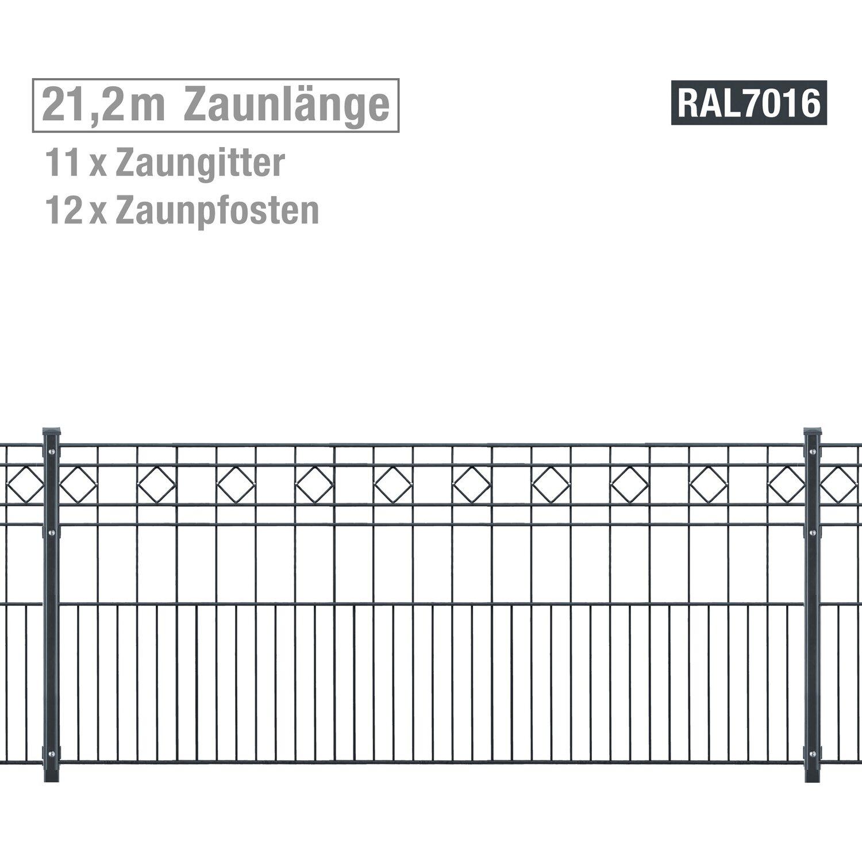 Extrem Metallzaun-Set Turin Höhe 80 cm Länge 21,2 m Anthrazit kaufen bei OBI HO95