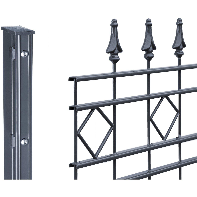 Trendig Metallzaun-Set Rimini Höhe 110 cm Länge 3,9 m Anthrazit kaufen bei OBI OZ39