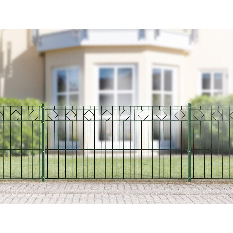 Metallzaun Set Valencia Höhe 100 cm Länge 4 m Grün kaufen bei OBI