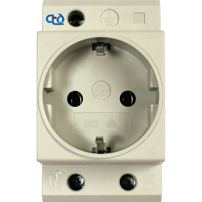 Verteiler-Einbausteckdose für DIN-Schiene