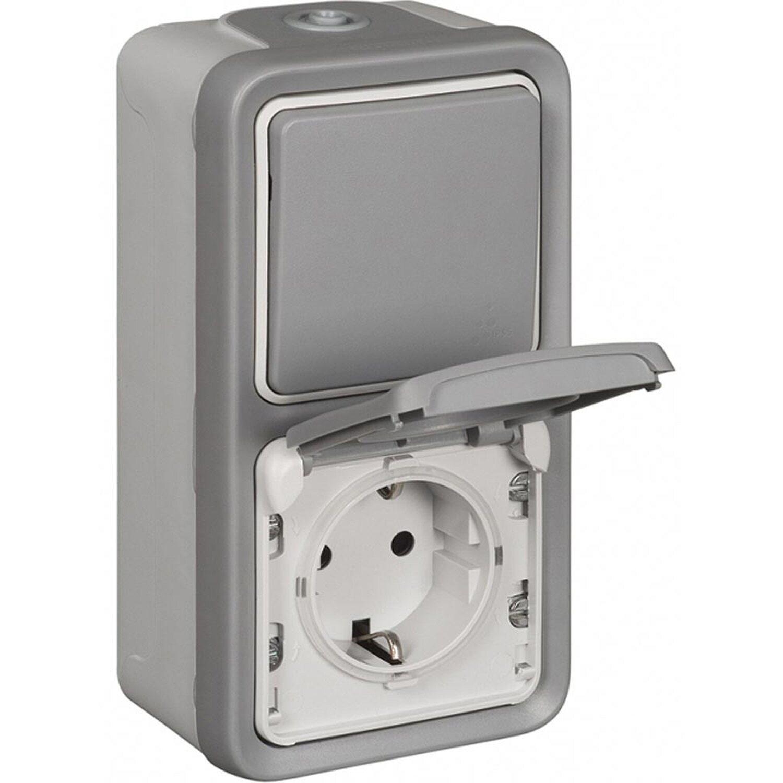 Legrand Aufputz-Feuchtraum Schalter/Steckdose Plexo55 Grau
