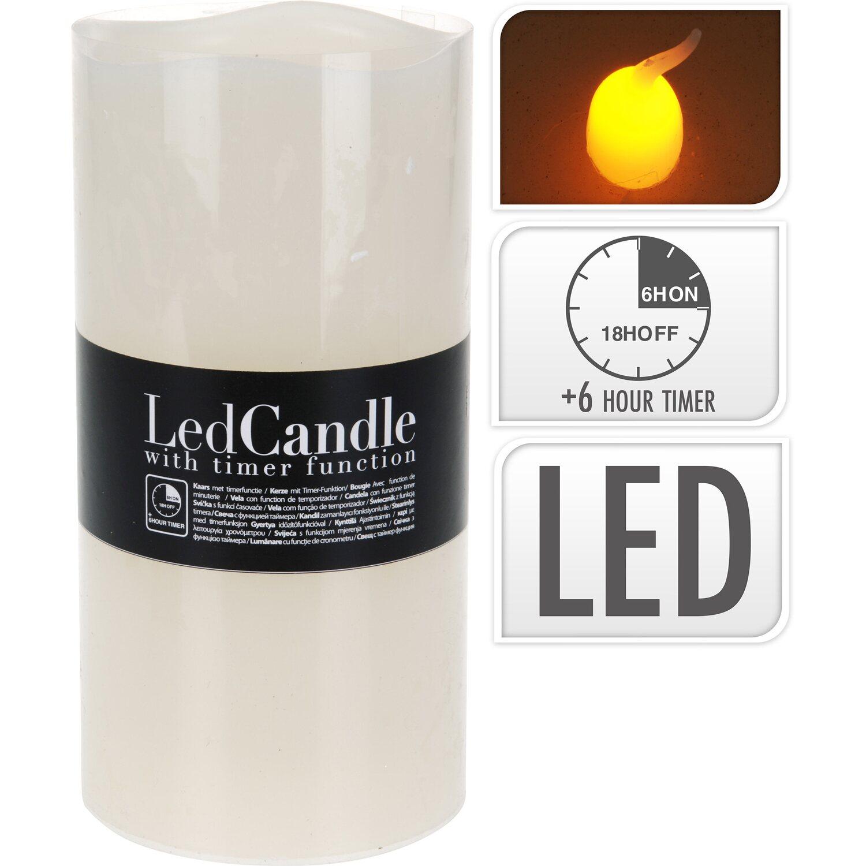 Led Kerze Integrierter Timer Flackernd Elfenbein 20 Cm X 10 Cm X 10 Cm Kaufen Bei Obi