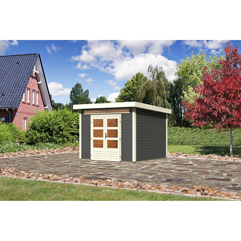 Extrem Karibu Holz-Gartenhaus Luzern 2 Terragrau mit Boden u. Dachfolie TF84