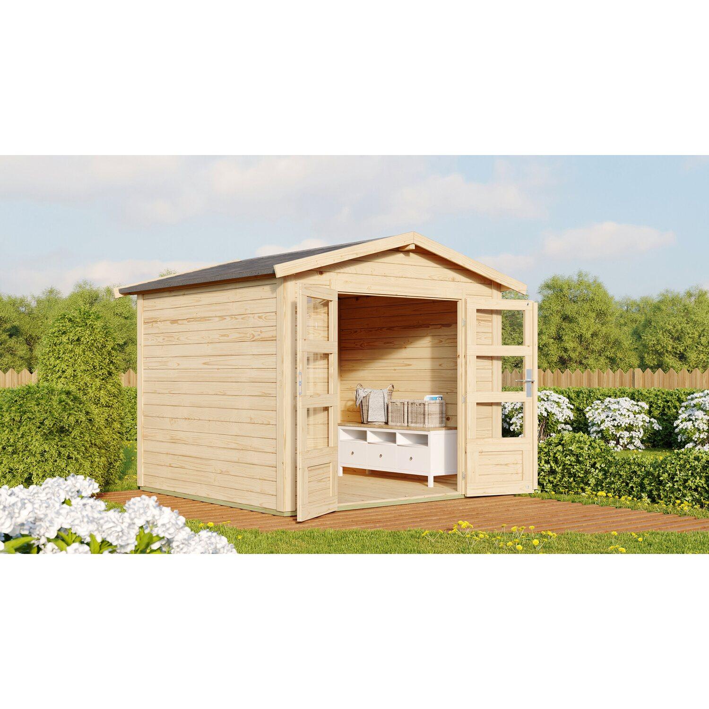 karibu holz gartenhaus tessin 1 natur 240 x 240 cm inkl boden und dachschindeln kaufen bei obi. Black Bedroom Furniture Sets. Home Design Ideas