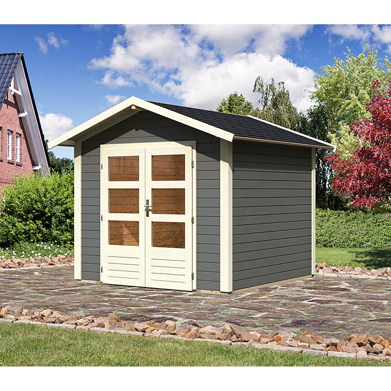karibu holz gartenhaus tessin 1 terragrau b x t 240 x 240 cm inkl boden kaufen bei obi. Black Bedroom Furniture Sets. Home Design Ideas