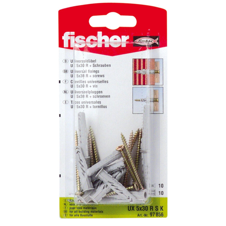 Fischer Universaldübel UX 5 x 30 RSK (mit Rand) mit Schraube (10 ST)