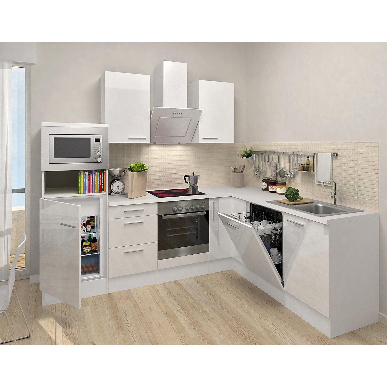 respekta winkelk che 260 cm wei hochglanz wei kaufen bei obi. Black Bedroom Furniture Sets. Home Design Ideas