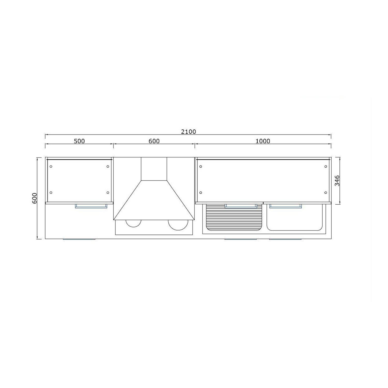 respekta k chenzeile 210 cm vanille hochglanz eiche grau. Black Bedroom Furniture Sets. Home Design Ideas