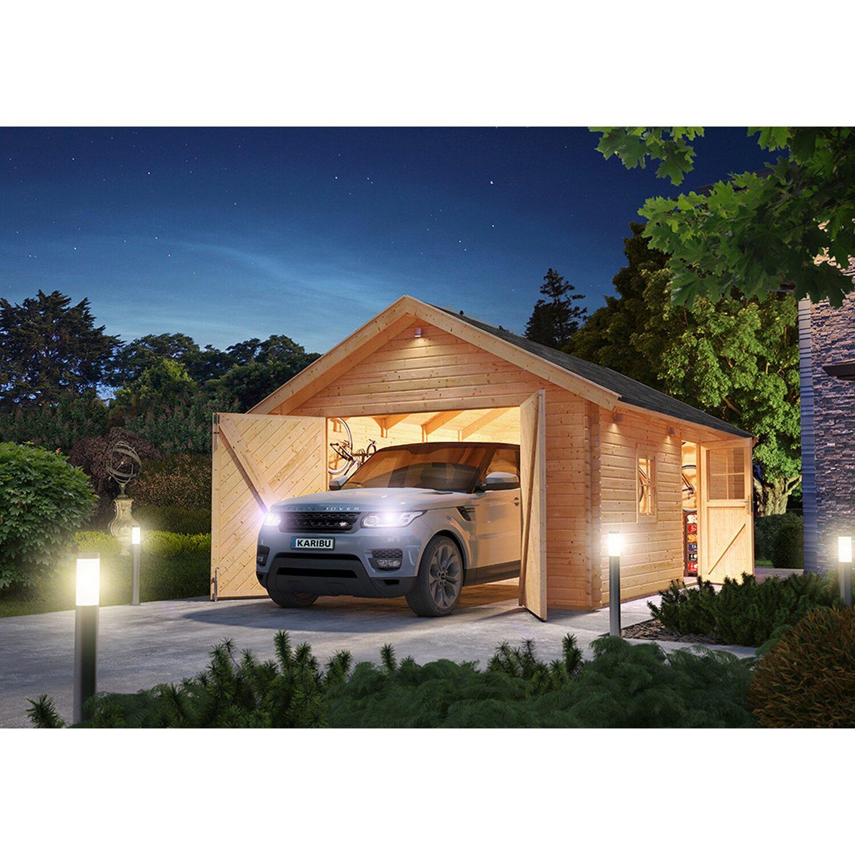 Blockbohlengarage 40 mm 372 cm x 522 cm x 309 cm | Baumarkt > Garagen und Carports > Garagen | Karibu