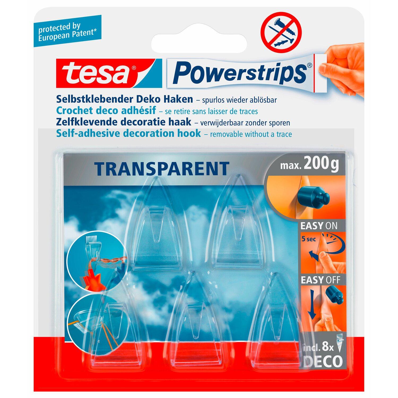 Tesa Powerstrips Deco Haken Transparent 5 Stück Mit 8 X Powerstrips