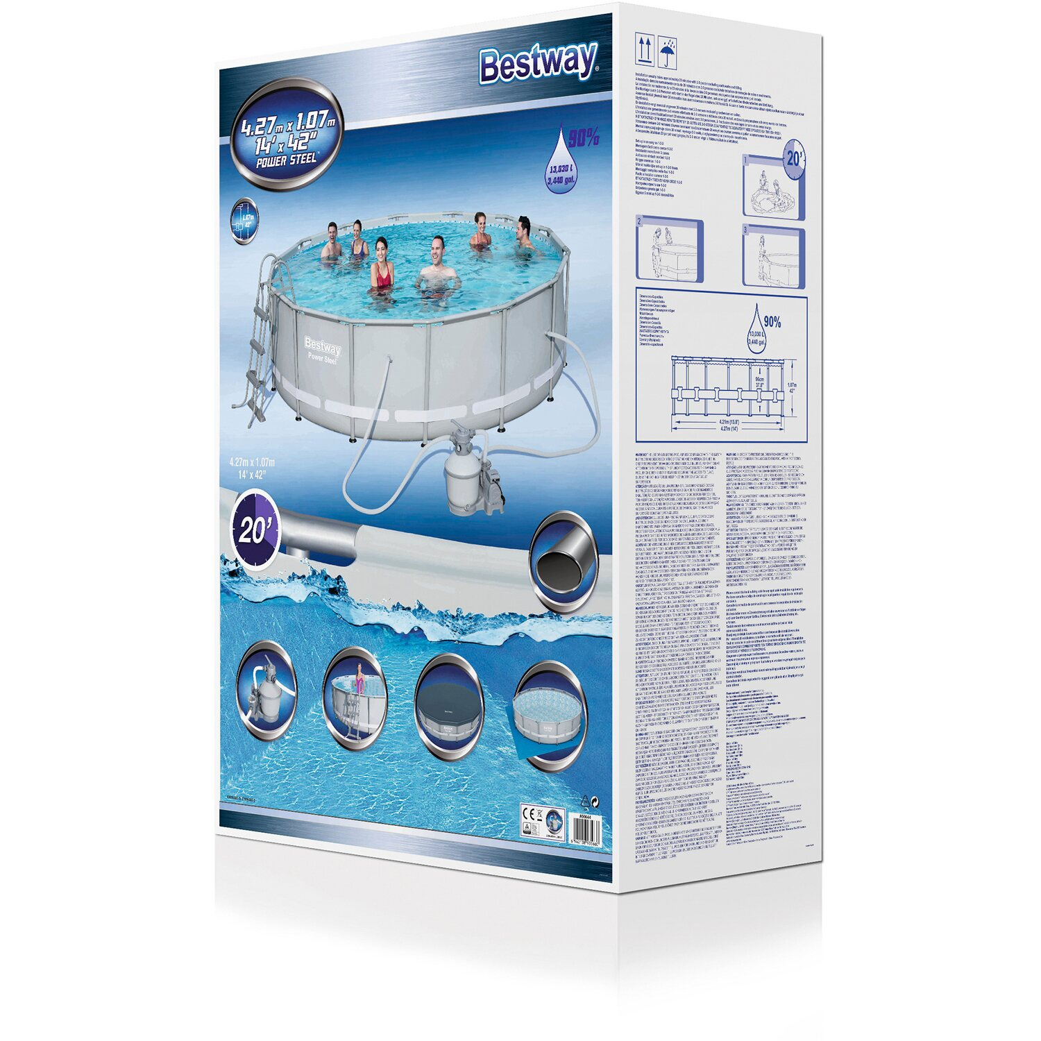 Bestway pool set power steel frame 427 cm x 107 cm mit for Obi pool set