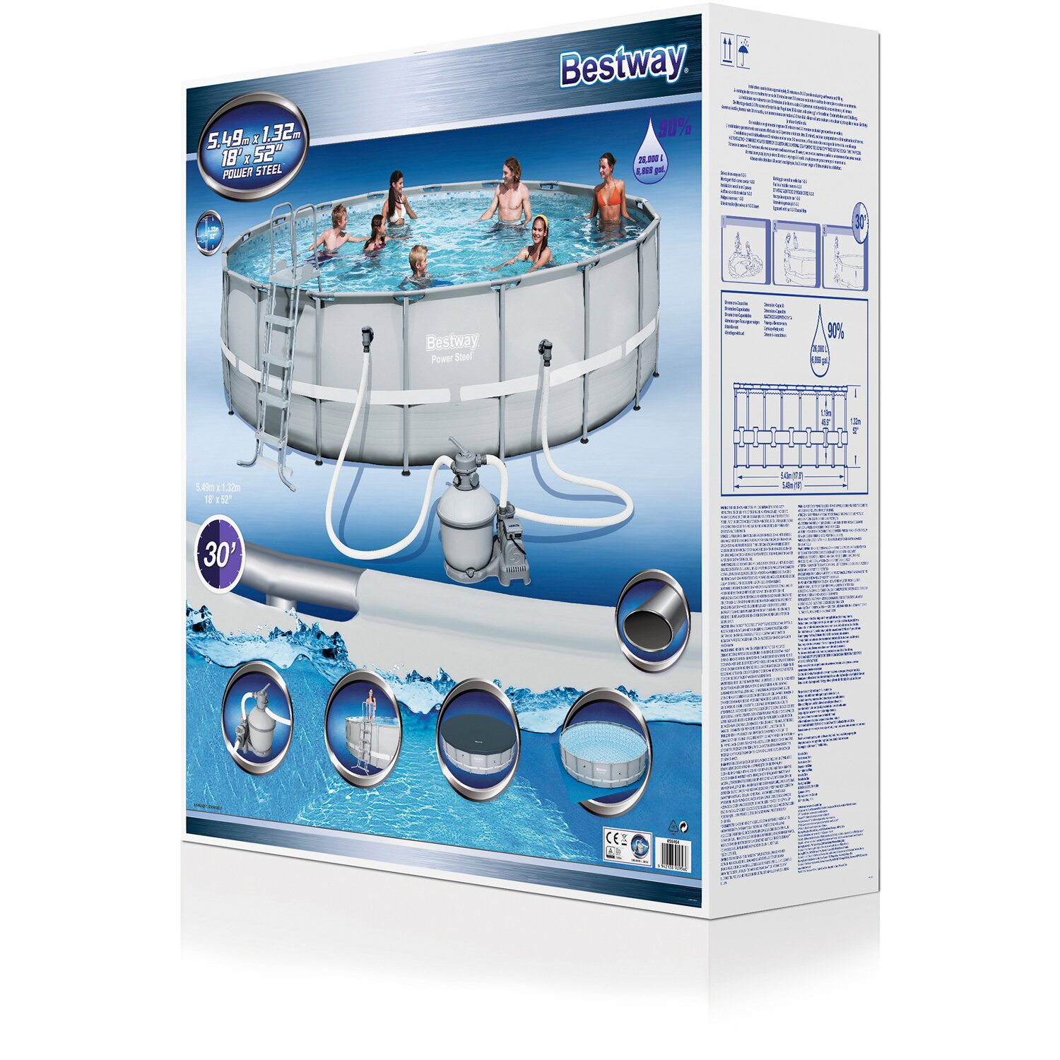Bestway pool set power steel frame 549 cm x 132 cm kaufen for Bestway pool bei obi