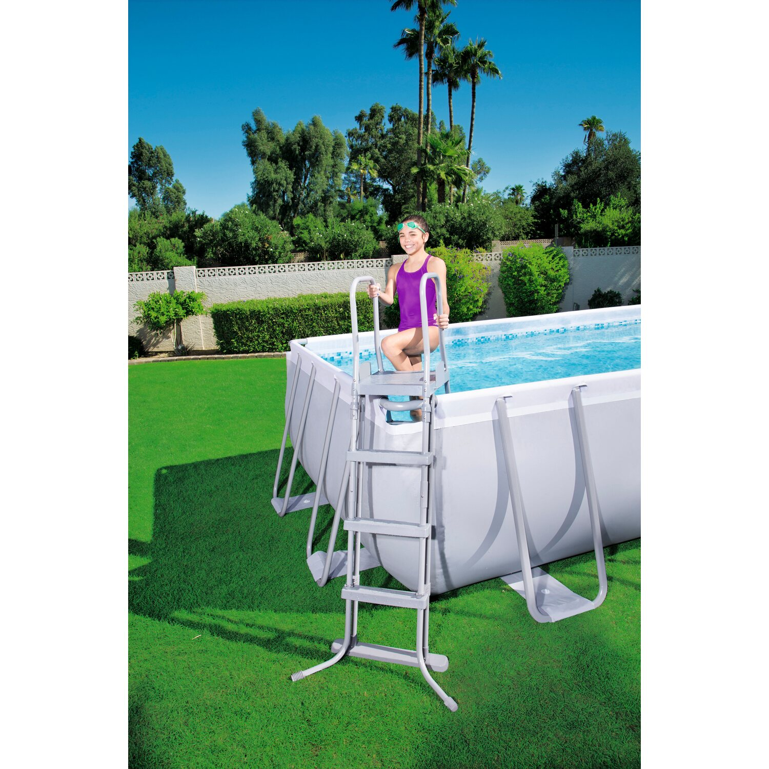 Bestway pool set power stahlrahmen 488 cm x 488 cm x 122 for Bestway pool hagebau