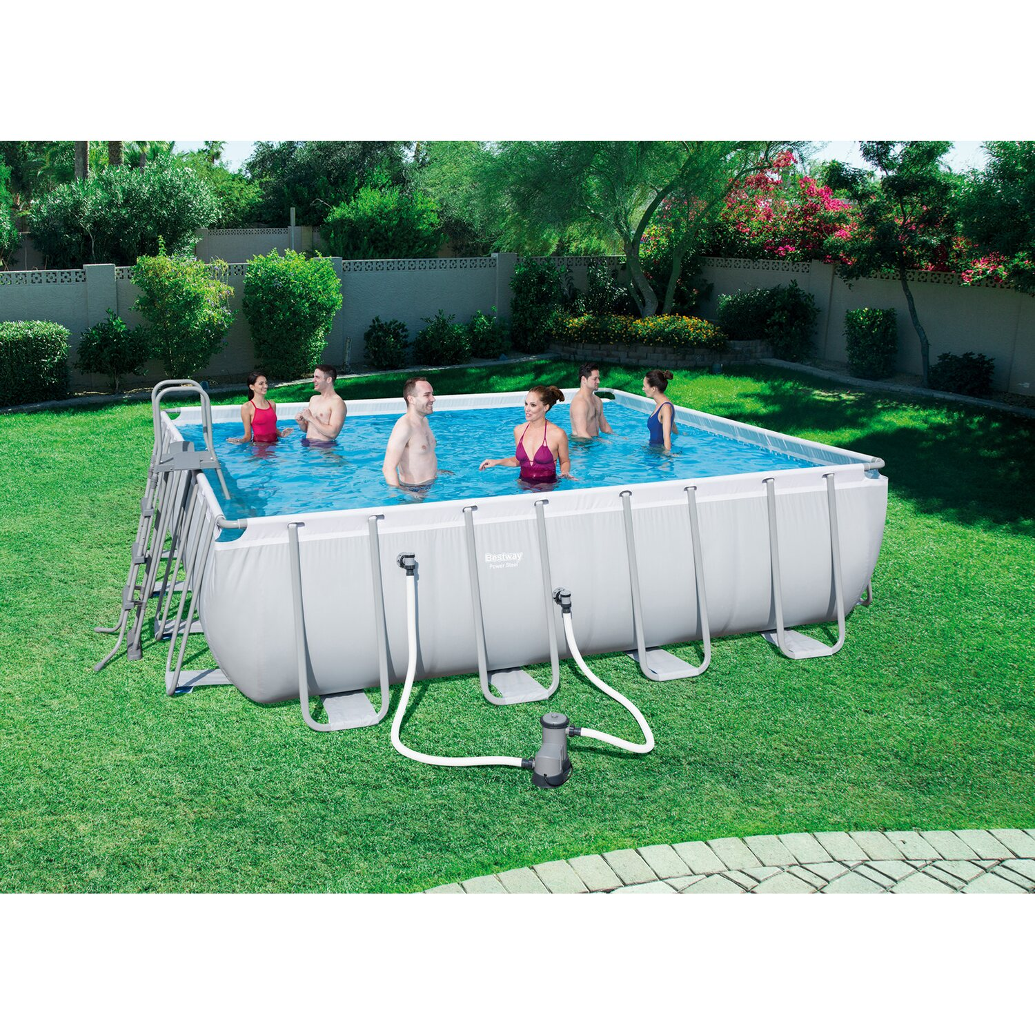 Bestway pool set power stahlrahmen 488 cm x 488 cm x 122 for Obi pool set