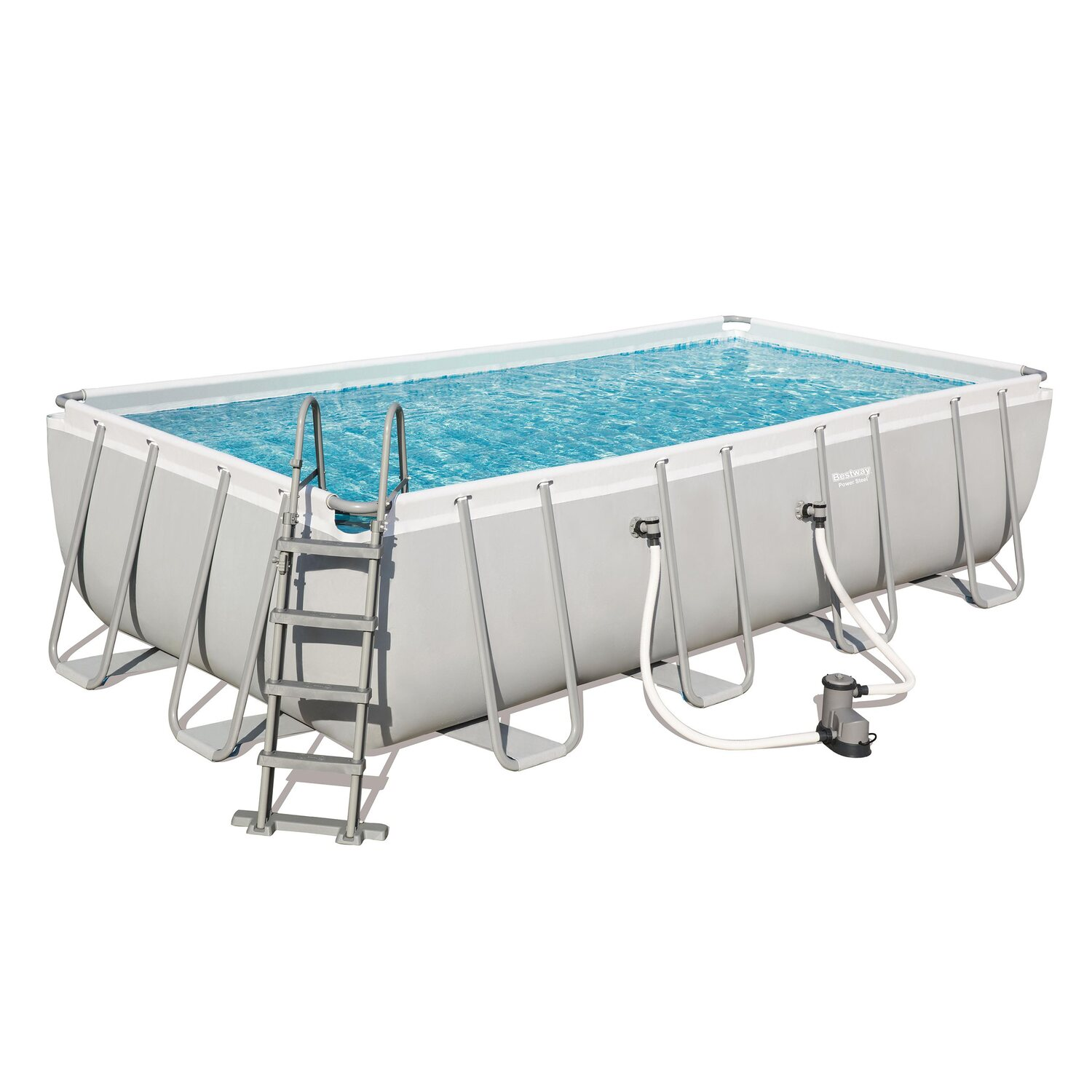 Bestway pool set power steel frame rectangular 549x274x122 for Pool obi baumarkt
