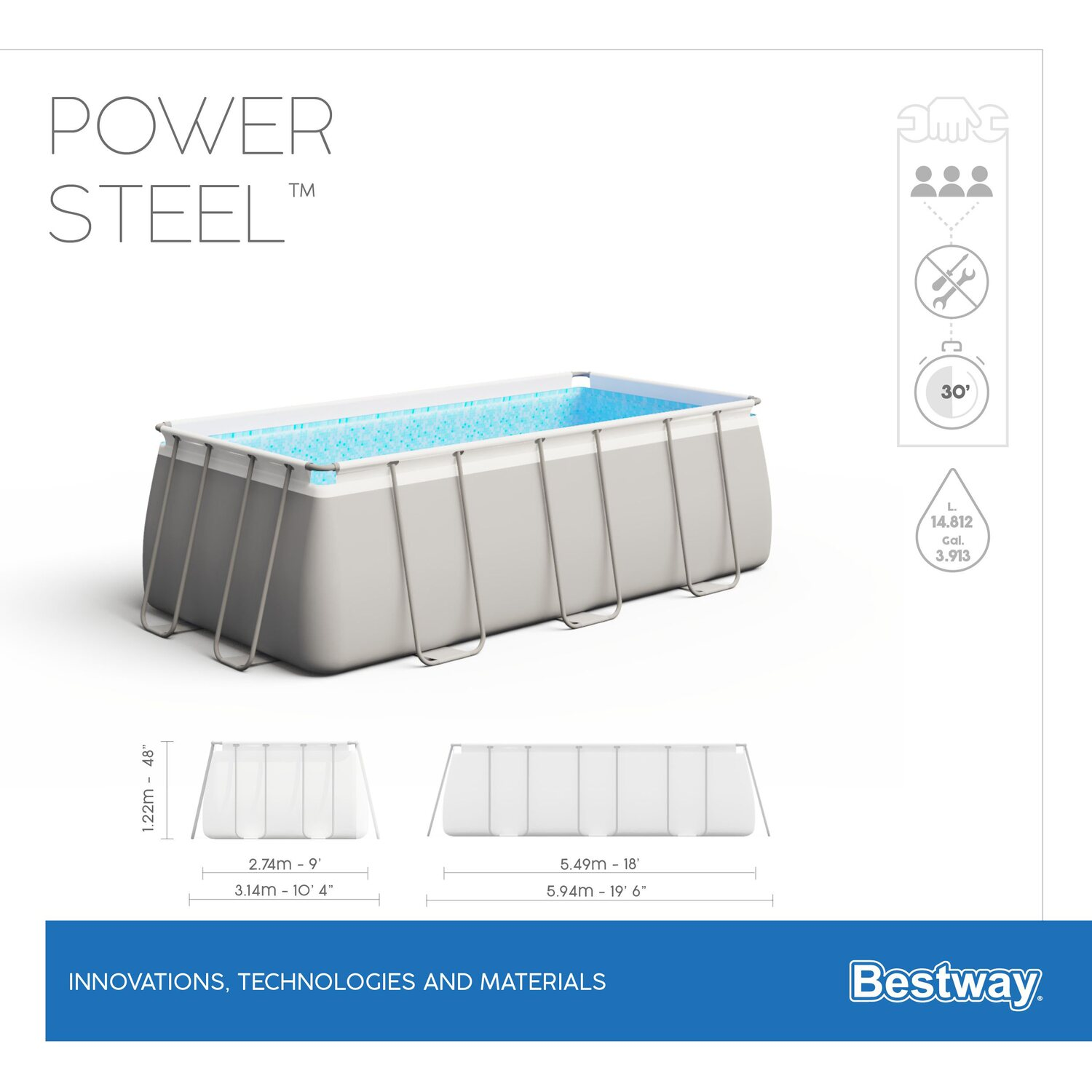 Bestway pool set power stahlrahmen rectangular 549x274x122 for Bestway pool obi