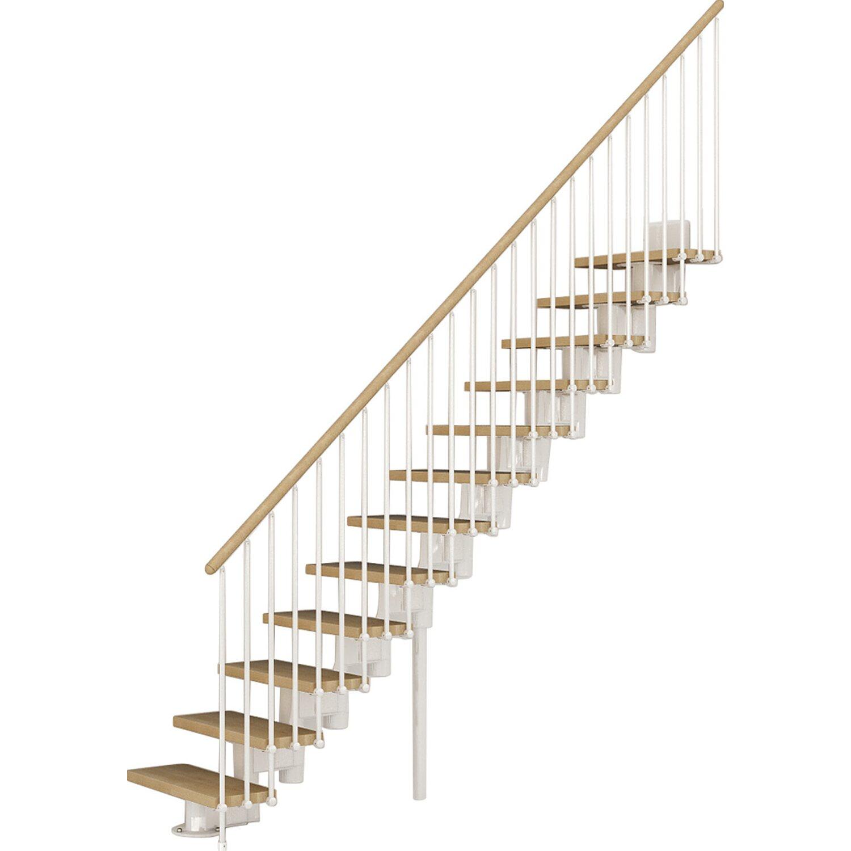 mittelholmtreppe long gerade buche inkl. geländer weiß-buche hell 65