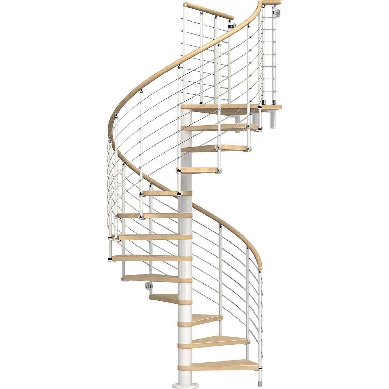 Spindeltreppe Ring Tube Buche inkl. Geländer Ø 118 cm Weiß-Buche hell | Baumarkt > Leitern und Treppen > Treppen | Mehrfarbig | Holz & stahl | Fontanot