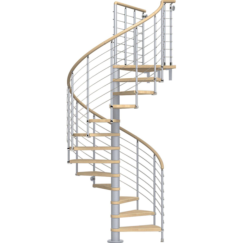 Fontanot Spindeltreppe Ring Tube Buche Hell mit Geländer in Grau Ø 148 cm | Baumarkt > Leitern und Treppen | Fontanot