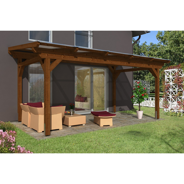 skan holz terrassen berdachung sanremo 541 x 350 cm leimholz nussbaum kaufen bei obi. Black Bedroom Furniture Sets. Home Design Ideas