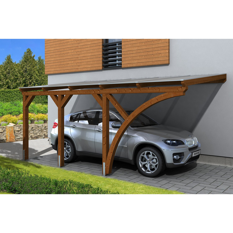 Skan Holz Carport Eifel 300 cm x 541 cm Nussbaum
