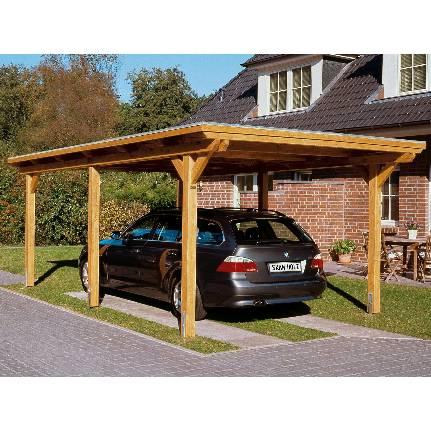 skan holz carport emsland 354 cm x 604 cm natur kaufen bei obi. Black Bedroom Furniture Sets. Home Design Ideas