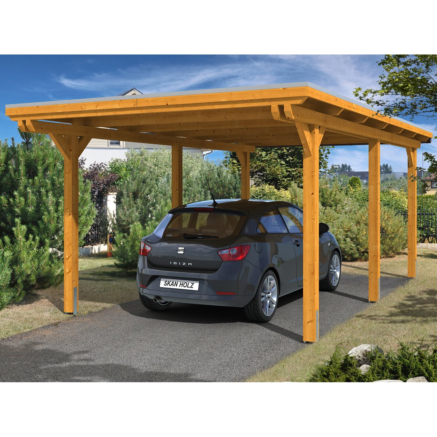 skan holz carport emsland 354 cm x 604 cm eiche hell. Black Bedroom Furniture Sets. Home Design Ideas