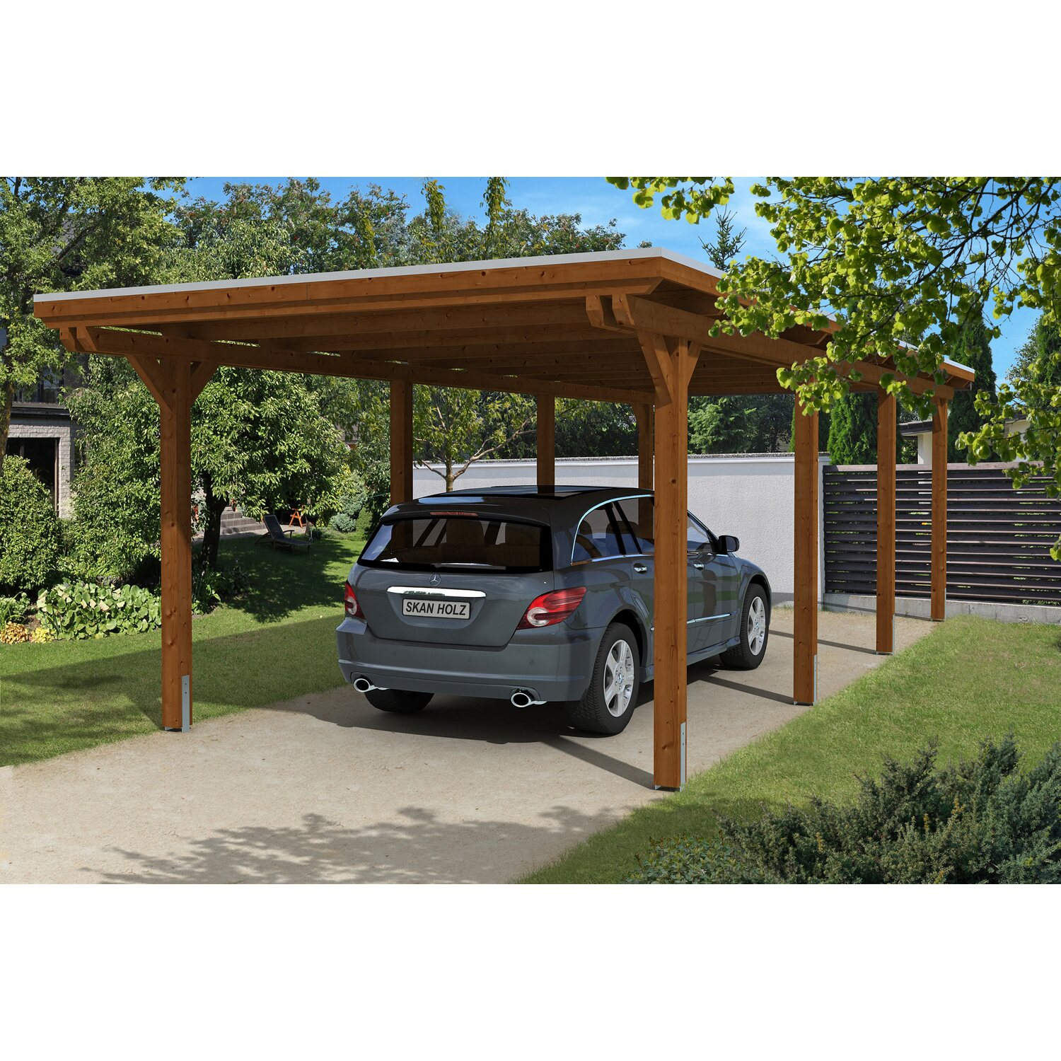 skan holz carport emsland 354 cm x 846 cm nussbaum kaufen bei obi. Black Bedroom Furniture Sets. Home Design Ideas