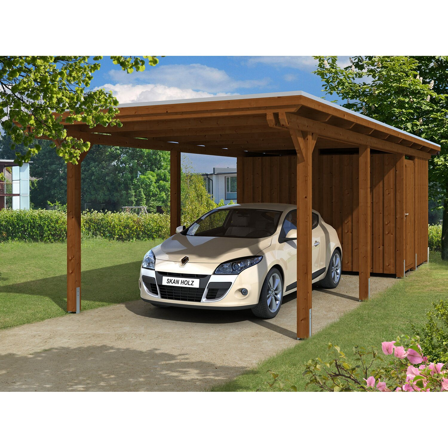 skan holz carport emsland 354 cm x 846 cm mit abstellraum nussbaum kaufen bei obi. Black Bedroom Furniture Sets. Home Design Ideas
