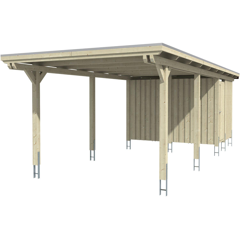 skan holz carport emsland 354 cm x 846 cm mit abstellraum nussbaum kaufen bei obi. Black Bedroom Furniture Sets. Home Design Ideas
