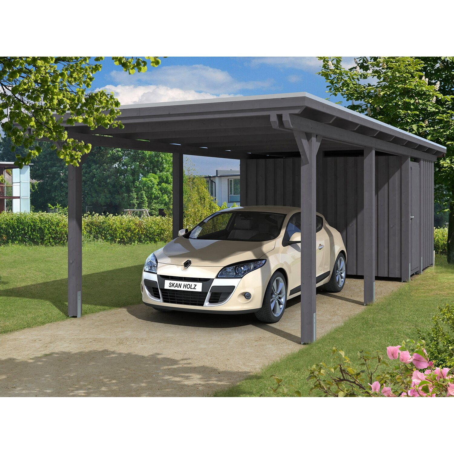 skan holz carport emsland 354 cm x 846 cm mit abstellraum schiefergrau kaufen bei obi. Black Bedroom Furniture Sets. Home Design Ideas