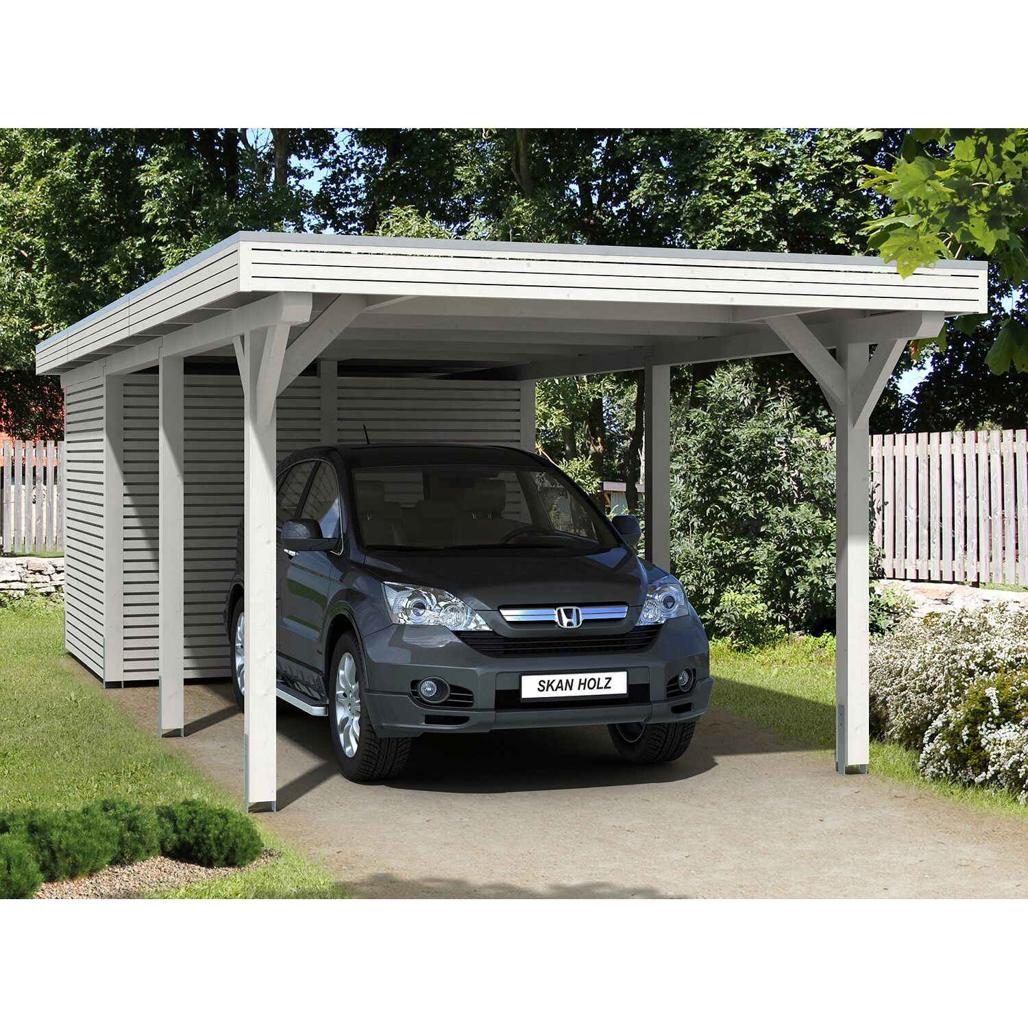 skan holz carport spessart 355 cm x 846 cm mit abstellraum wei kaufen bei obi. Black Bedroom Furniture Sets. Home Design Ideas