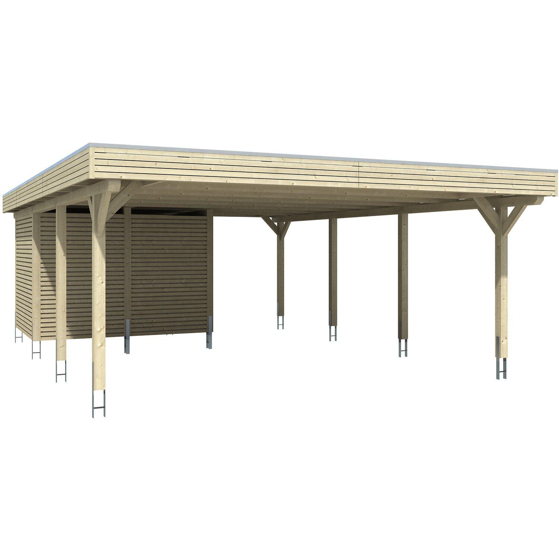 Skan Holz Carport Spessart 611 Cm X 846 Cm Mit Abstellraum Eiche Hell Kaufen Bei Obi