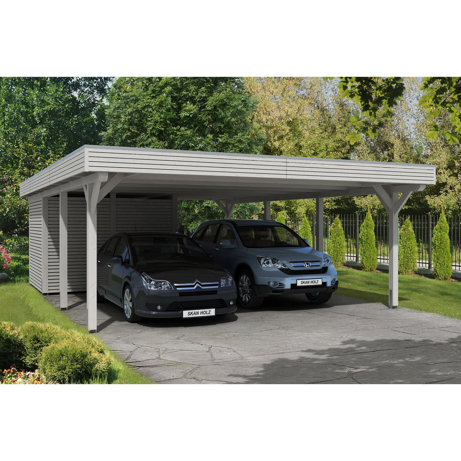 skan holz carport spessart 611 cm x 846 cm mit abstellraum wei kaufen bei obi. Black Bedroom Furniture Sets. Home Design Ideas
