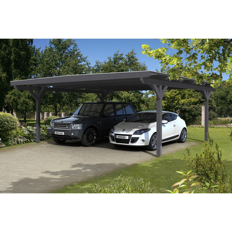 Skan Holz Carport Odenwald 640 cm x 648 cm gerade Kopfbänder Schiefergrau | Baumarkt > Garagen und Carports > Carports | Grau | Holz | Skan Holz