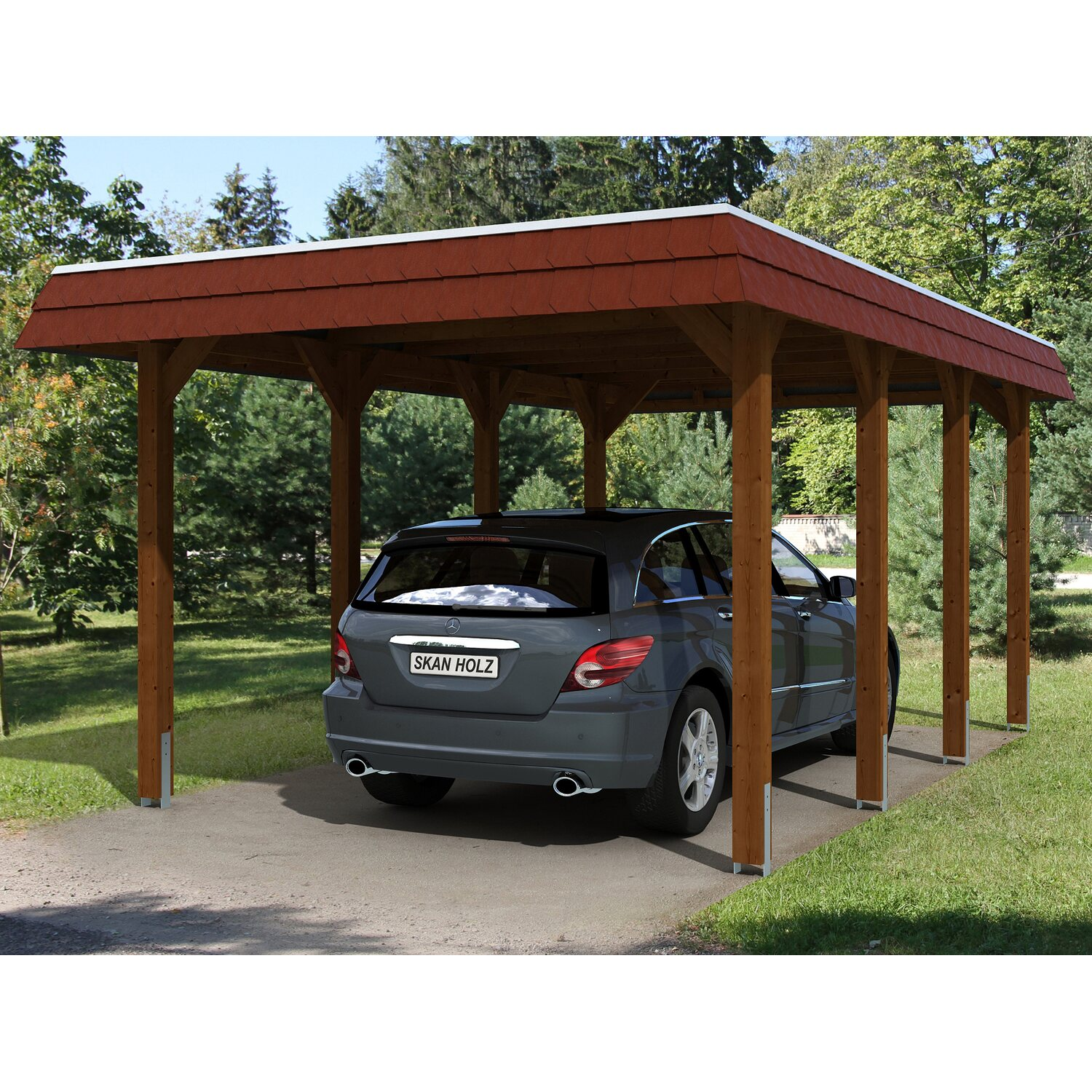 skan holz carport spreewald 345 cm x 589 cm rote blende nussbaum kaufen bei obi. Black Bedroom Furniture Sets. Home Design Ideas