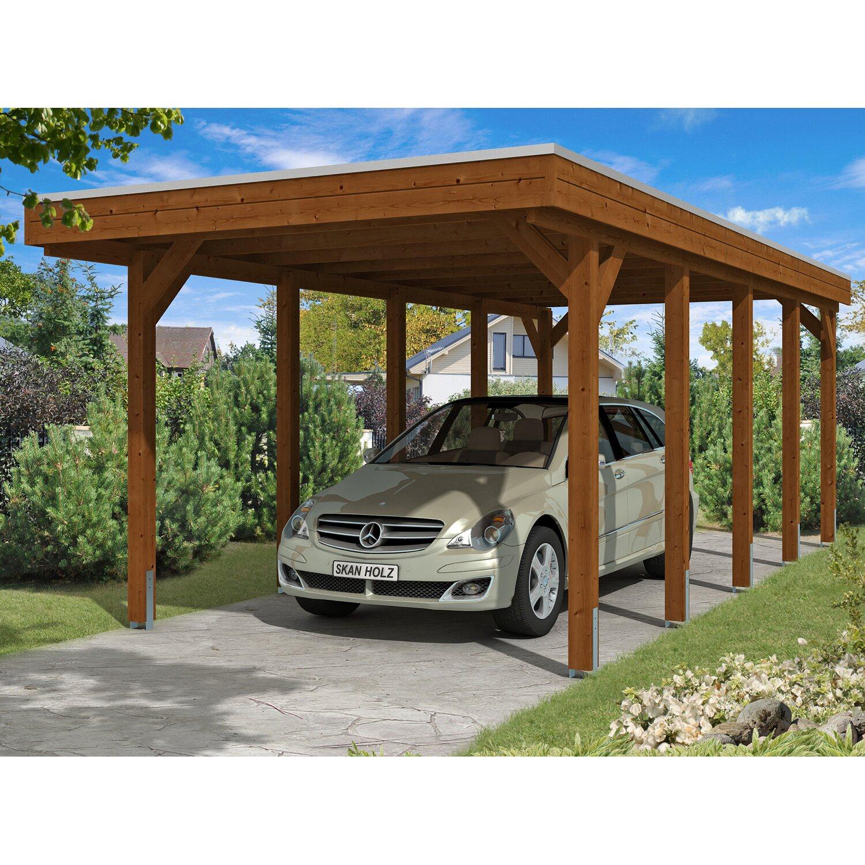 Skan Holz Carport Friesland 314 cm x 708 cm Nussbaum | Baumarkt > Garagen und Carports > Carports | Skan Holz