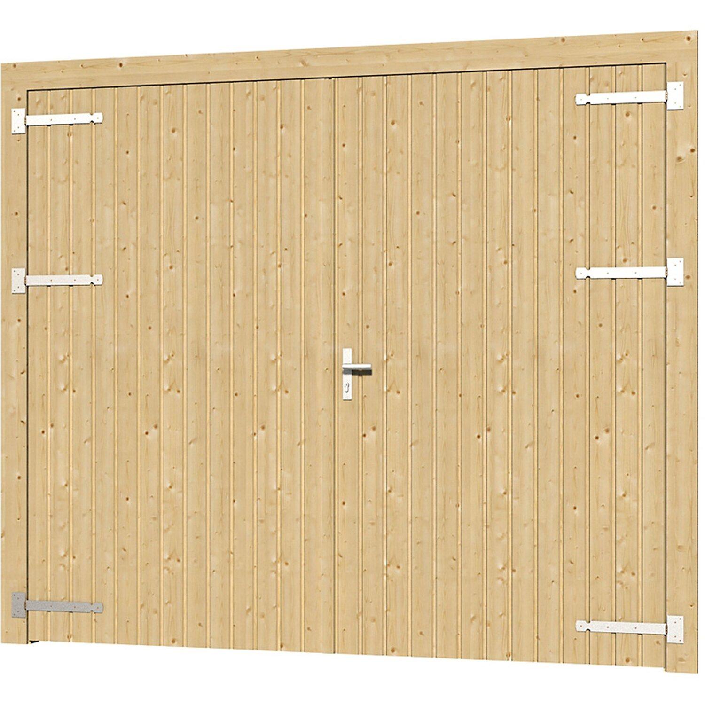 Skan Holz Garagentor Falun zweiflüglig Fichte Eiche hell | Baumarkt > Garagen und Carports > Garagentore | Skan Holz