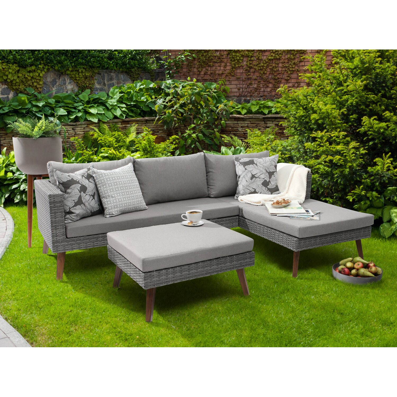 Fabulous Greemotion Lounge-Gruppe Gomera Polyrattan Grau 3-tlg. kaufen bei OBI IG55