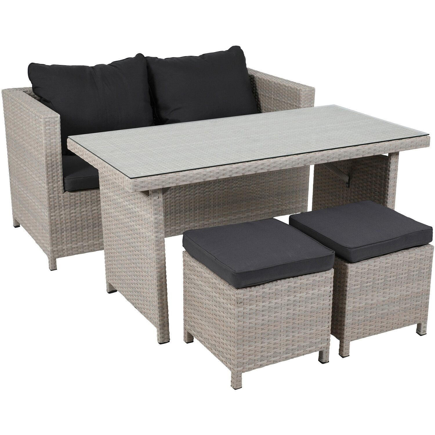 greemotion garten lounge set kiel polyrattan beige 4. Black Bedroom Furniture Sets. Home Design Ideas