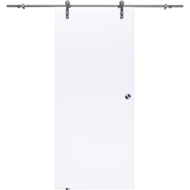 OBI Glasschiebetür Gelo offenes System Weiß blickdicht 90 cm x 205 cm