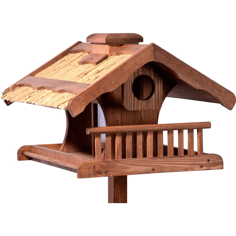 vogelfutterhaus mit reetdach, apfelpicker und ständer 54 x 53 x 157