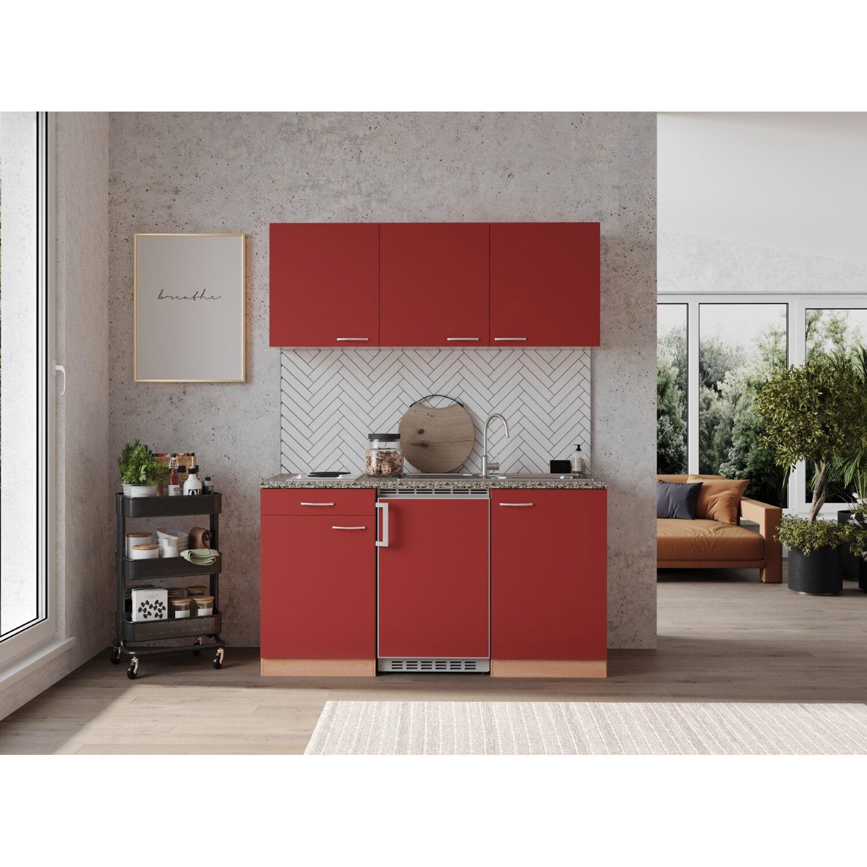 Respekta Küchenzeile 150 cm Buche Rot, mit Geräten, Edelstahlherdplatten