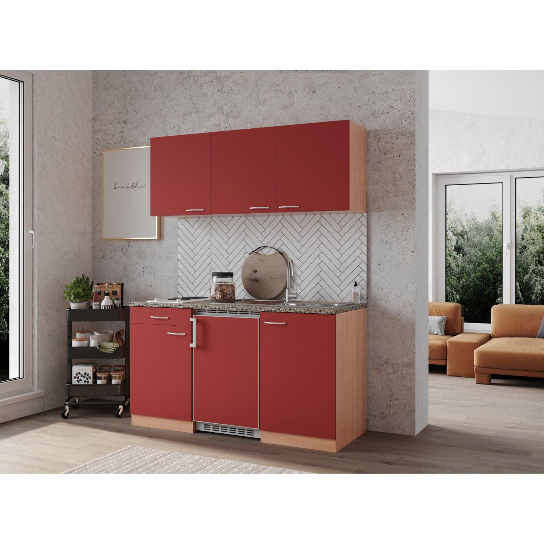 Trendig Respekta Küchenzeile KB150BR 150 cm Rot-Buche Nachbildung kaufen  NQ51