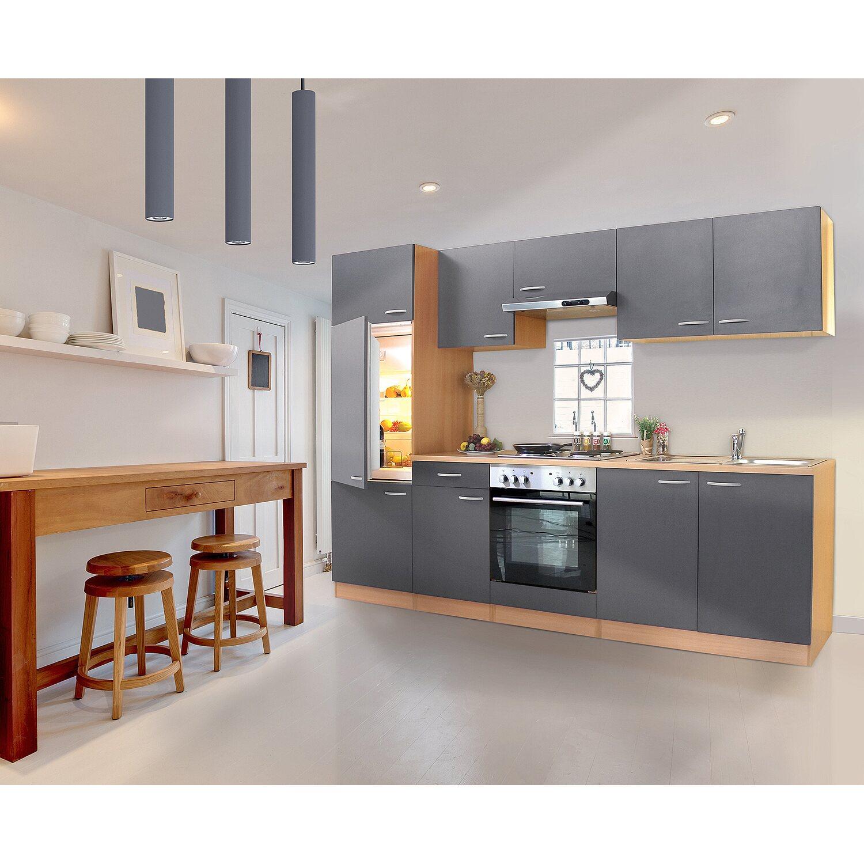 Respekta Küchenzeile KB270BGE 270 cm Grau-Buche Nachbildung kaufen ...