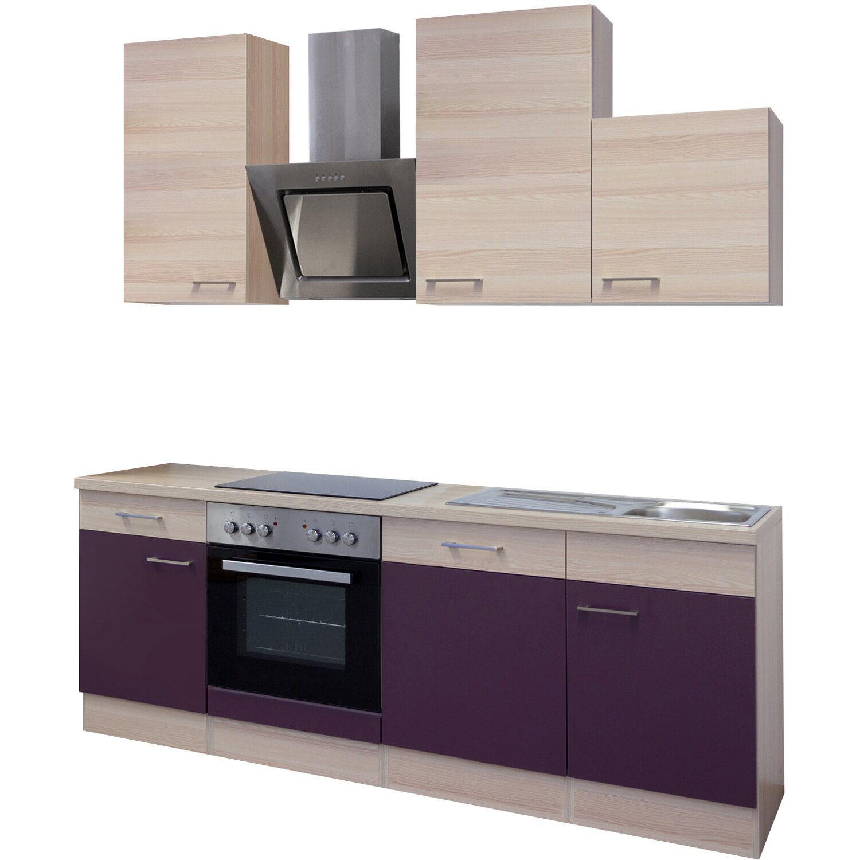 Flex-Well Exclusiv Küchenzeile Focus 220 cm Akazie-Aubergine kaufen ...